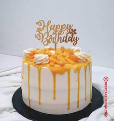 50 Most Beautiful looking Mango Cake Design that you can make or get it made on the coming birthday. Birthday Cheesecake, Ice Cream Birthday Cake, Cute Birthday Cakes, Mango Dessert Recipes, Cake Recipes, Desserts, Easy Cake Decorating, Birthday Cake Decorating, Crazy Cakes