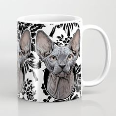 Sphynx Cat Coffee Mug by matlocktheartist - 11 oz Cat Coffee Mug, Sphynx Cat, Cats, Tableware, Artwork, Artist, Decor, Gatos, Dinnerware