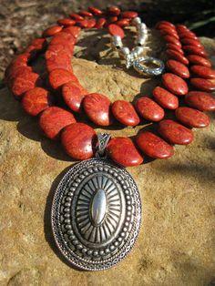 Southwestern Sunset - Sponge Coral Medallion Necklace. $58.00, via Etsy.