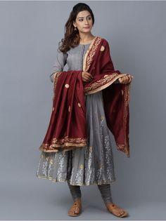 Grey Maroon Foil Printed Cotton Chanderi Anarkali Suit - Set of 3