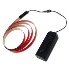 Zitrades 1Mx1.5CM Neon Glowing Strobing Electroluminescent Robbin EL Tape Belt  Red