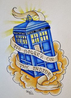 THIS WOULD MAKE A GOOD TATTOO... Doctor Who TARDIS watercolor painting in tattoo flash style-Print