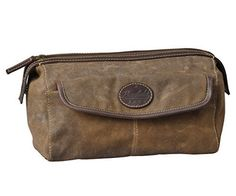 Men's Canvas and Leather Toiletry Bag by Bayfield Bags - Vintage Retro-Look Waxed Canvas Large (12x7x7) Travel Dopp Bag ** Check this awesome image (This is an affiliate link and I receive a commission for the sales) : Travel accessories