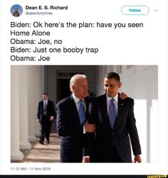 A roundup of the best memes showing Barack Obama and Joe Biden's imagined conversations about pranking Donald Trump.: Tinting the Mirrors Best Funny Jokes, Crazy Funny Memes, Wtf Funny, Funny Quotes, Funniest Memes, Funny Posts, Joe And Obama, Obama And Biden, Funny Pictures