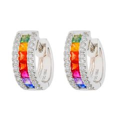 18ct White Gold 0.90ct Rainbow Sapphire & 0.30ct Diamond Hinged Hoop Earrings Jewelry Box, Fine Jewelry, Jewellery, Red Carpet Ready, Matching Rings, Jewelry Companies, Sapphire Diamond, Diamond Cuts, White Gold