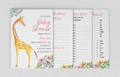 Complete Printable Baby Shower Pack - Games, Thank You Card and Customised Invitation - Giraffe Baby Shower Printables, Baby Shower Invitations, Color Profile, Babies R Us, Invitation Wording, Baby Shower Games, Thank You Cards, Wedding Details, Etsy Store