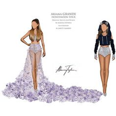Ariana Grande's Honeymoon Tour See Exclusive Costume Sketches Pret-a-Reporter