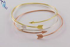 Skinny Arrow Bangle / Sterling Silver / Gold by SilverCharmsInc