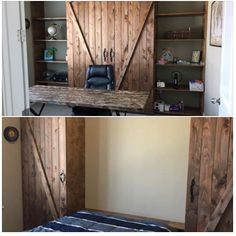Murphey Bed with Sliding Barn Doors. THis was a combo build using the two plans below (photo was taken from Facebook) http://www.ana-white.com/2010/03/plans-a-murphy-bed-you-can-build-and-afford-to-build.html http://www.ana-white.com/2015/11/free_plans/sliding-barn-door-media-wall-suite