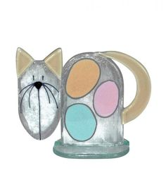 Fused Glass - Small Cat - Pastel by Nobile Glassware
