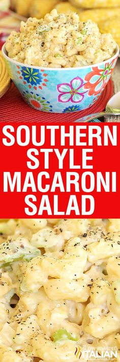 Southern Style Macaroni Salad is the best ever pasta salad of all time.  It is creamy with the perfect crunch and a little tang.  It is exactly what I think of whenever summer sides come to mind.  This recipe is so easy you can whip it up in less than 30 minutes.