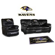 Baltimore Ravens Leather Furniture Set For my WOMAN cave one day!