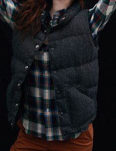 herringbone wool down vest