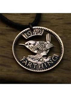 Cart Hand cut, carved and engraved Jenny Wren Farthing coin pendant necklace made in the Hg workshop Penny Jewelry, Bird Jewelry, Coin Jewelry, Jewelery, Jewelry Design, Bullet Jewelry, Jewelry Necklaces, Silverware Jewelry, Cutlery
