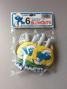 SMURF PARTY SUPPLY, Vintage Smurf party supply, original Smurf party supply, party Blowers, party blowouts, Smurf birthday party supply