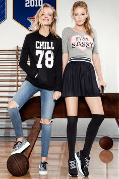 Chill out or stay sassy in graphic tops, distressed jeans, and over-the-knee socks.│ H&M Divided