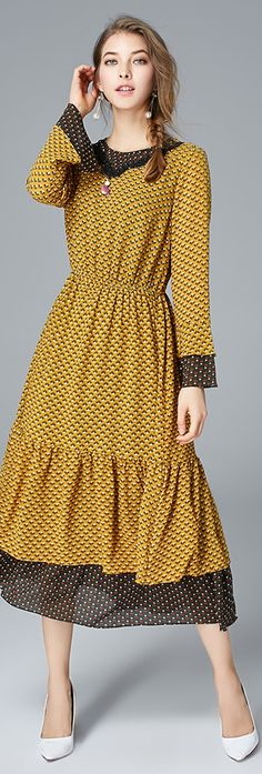 Yellow Print Layered Dress