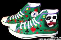 Why So Serious? Chucks #chucktaylor #hightops #converse #superhero #geek #darkknight #joker #heath #ledger
