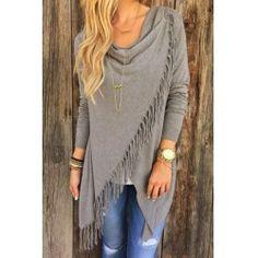 Charming Gray Tassel Hem Asymmetric Loose T-Shirt For Women