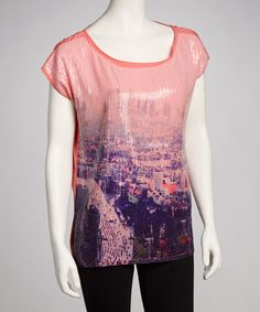 Take a look at this Coral Sequin Cityscape Top by Carmin USA on #zulily today!