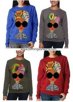 Ankara Item of The Day: Naturally Fly Sweatshirt by QuellyRue Designs - African fashion African Inspired Fashion, African Dresses For Women, African Print Fashion, Africa Fashion, African Attire, African Wear, African Women, Fashion Prints, African Prints