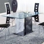Global Furniture - Glass Dining Table with Black and White Legs - D1021DT  SPECIAL PRICE: $479.31
