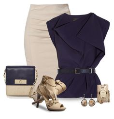 """""""Navy & Taupe"""" by justjules2332 ❤ liked on Polyvore featuring Donna Karan, La Petite S*****, Kate Spade, Armani Exchange, Maison Boinet, Burberry, Kimberly McDonald, navy, pencilskirts and taupe"""
