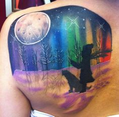 boy and dog winter colorful northern lights aurora borealis moon Sweet Tattoos, Dope Tattoos, Body Art Tattoos, Color Tattoos, Tatoos, Tattoo Hurt, Raven Tattoo, I Tattoo, Tattoo Forum