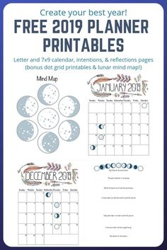 Create your best year! There are free grid dot printables for your bullet journal, too! Free 2019 planner printables with the phases of the moon, mind maps, visualization pages, and more!