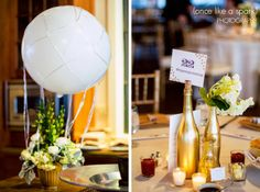 hot air balloon, decor ideas, gold, elegant wedding, wedding decor, wedding photography :: Stephanie + Andy's Wedding at Summerour Studios in Atlanta, GA :: with Tyler