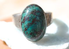Silver Ring Taxco Santos Chrysocolla Sterling by Yourgreatfinds