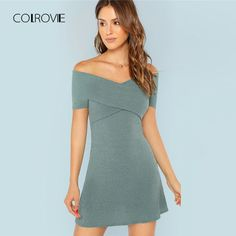 Shop Cross Wrap Front Off Shoulder Rib Dress online. SHEIN offers Cross Wrap Front Off Shoulder Rib Dress & more to fit your fashionable needs. Fall Dresses, Dresses For Sale, Summer Dresses, Dresses Dresses, Casual Dresses, Woman Outfits, Dress Outfits, Criss Cross, Fashion Clothes