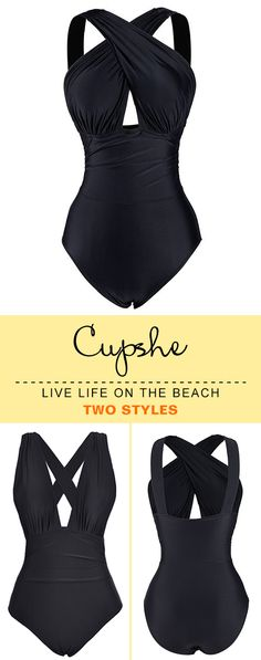 Live life on the beach! Hottest-selling black solid onepiece on sale now. No matter plunging V-neck or front-cross, one swimsuit to fulfill two styles. Faster shipping and better service! Shop now!