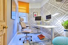 Freedom Headrest   Humanscale   Niels Diffrient   Ballo   Standing Desk   Monitor Arms   Ergonomic   Ergonomics   Pink   Blue   White   Calming   Design   Small space   office   makeover   before and after   Modern   Fun   Workspace   Workplace   Office