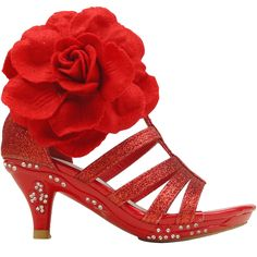 Girls Evening High Heel Dress Sandals w/ Strappy Glitter and Fabric Flower Sz 9-4 Red
