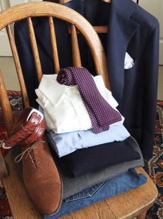 Dressing like a grown up:  1) Blue Blazer- this one is a cashmere herringbone from Napoli Su Misura  2) White Oxford Cloth Button Down shirt - Brooks Brothers  3) End on end blue spread collar shirt- My Tailor  4) Gray wool flannels - Salvatore Ambrosi  5) Levis - 1947 LVC 501XX  6) White linen pocket square - A Suitable Wardrobe  7) Croc Belt - Polo Ralph Lauren  8) Silk Knit Tie - Luciano Barbera  9) Navy Crew Neck Cashmere Sweater- Borrelli  10) Suede Cap Toe - Crocket & Jones