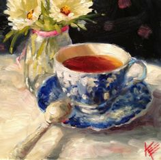 """Daily Paintworks - """"Carry on"""" - Original Fine Art for Sale - © Krista Eaton Tea Cup Art, Food Painting, Still Life Art, Fine Art Gallery, Watercolor Paintings, Oil Paintings, Art Pictures, Cool Art, Illustration Art"""