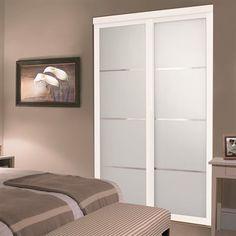 white colored glass sliding closet door