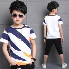 22.61$  Buy now - http://alirt0.shopchina.info/go.php?t=32801890499 - Summer Clothing Sets For Boys Cotton Big Striped T-Shirts & Pants 2 Pcs Casual Boys Costume Suits Teenage Children Clothing  #buyonlinewebsite