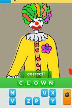 Clowns can be scary but this one seems cool  Draw something app