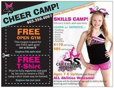 Register for our cheer camp before January 31st and get a free t-shirt! Sizes are limited so don't delay!!!
