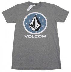 Volcom Mens Heather Gray Tee Shirt with Palm Tree Print Men s Short Sleeve T -shirt 90d19e97a8396