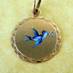 Antique Art Nouveau Austrian Silver Vermeil Enamel Swallow Love Letter Charm