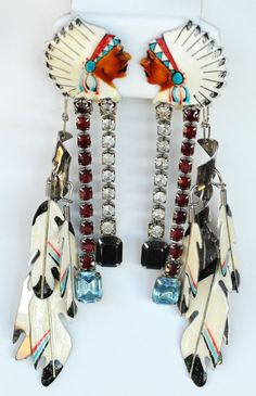 Lunch at the Ritz Head Dress and Feathers earrings Native American