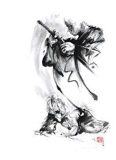 Martial Arts Japan Warrior Aikido Poster. By Mariusz Szmerdt