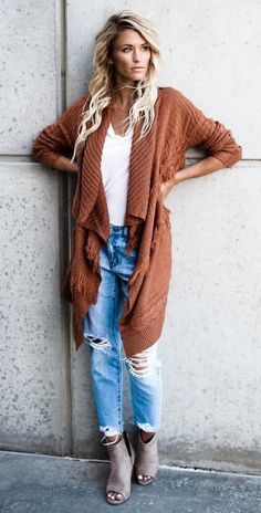 #fall #outfits women's brown cardigan, white scoop-neck top, blue distressed faded jeans and brown leather open toe wedges outfit