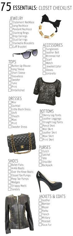 75 Essentials Closet Checklist,