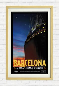 """""""Cruise"""" by Ignasi Font (Bungalow). Escoda """"Inspired by Barcelona"""" 2014 poster collection."""