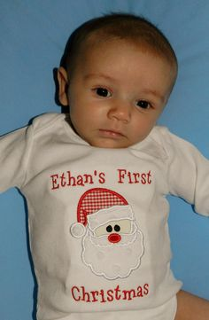 First Christmas Santa Shirt or Onesie - Personalized - Appliqued - Embroidered - Monogrammed. $24.00, via Etsy.