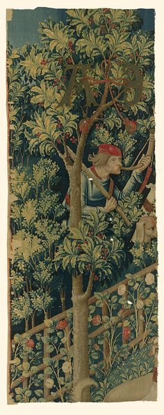 The Mystic Capture of the Unicorn (from the Unicorn Tapestries)  Date: 1495–1505 Culture: South Netherlandish Medium: Wool warp with wool, silk, silver, and gilt wefts Dimensions: Overall: 66 1/2 x 25 1/2 in. (168.9 x 64.8 cm)